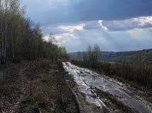 De lentelandweg Stock Foto's