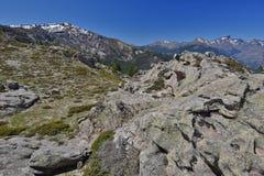 De lentemening van het Corsicaanse hooggebergte royalty-vrije stock foto's