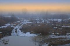 De lentemist bij zonsondergang Royalty-vrije Stock Foto's