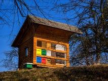 De lenteochtend dichtbij de kleurrijke bijenkorf Royalty-vrije Stock Afbeelding