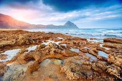 De lentepanorama van overzeese kuststad Trapany Sicilië, Italië, Europa Royalty-vrije Stock Afbeelding