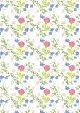 De lentepatroon, met blauwe en bloeiende roze bloemen en groene bladeren Royalty-vrije Stock Fotografie