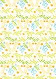De lentepatroon, met oranje bloemen en met blauwe en groene installaties Royalty-vrije Stock Foto's