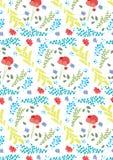 De lentepatroon, met papaverbloem en kleurrijke installaties en bladeren Royalty-vrije Stock Foto's