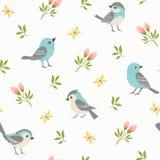 De lentepatroon van blauwe kleine vogels Royalty-vrije Stock Foto