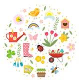 De lentepictogrammen in ronde vorm, vlakke stijl worden geplaatst die Het tuinieren leuke die inzameling van ontwerpelementen, op stock illustratie