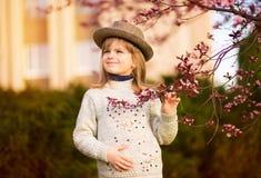De lenteportret, aanbiddelijk meisje in hoedengang in de tuin van de bloesemboom op zonsondergang stock afbeelding