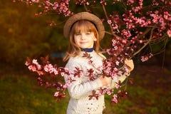 De lenteportret, aanbiddelijk meisje in hoedengang in de tuin van de bloesemboom op zonsondergang royalty-vrije stock afbeelding