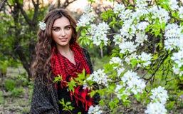 De lenteportretten van een schitterende jonge vrouw op een achtergrond van kersen Sakura royalty-vrije stock afbeelding