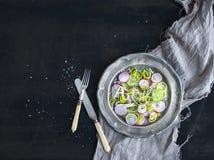 De lentesalade met prei, radijs en cucmber in uitstekende metaalplaat Stock Fotografie