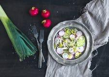 De lentesalade met prei, radijs en komkommer in uitstekende metaalplaat Stock Afbeelding