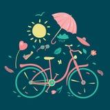 De lentesamenstelling met bycicle vector illustratie