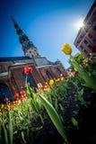 De lentestemming in Oud Riga Royalty-vrije Stock Fotografie