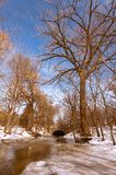 De lentestroom onder de brug met een mooi landschap stock afbeelding