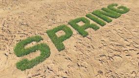 De lentetekst die van vers gras onder een onvruchtbaar land 3 wordt gemaakt stock illustratie