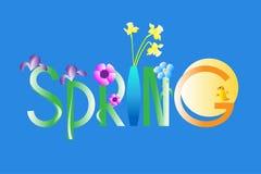 De lentetekst en bloemen met vogel op blauwe achtergrond Royalty-vrije Stock Afbeelding