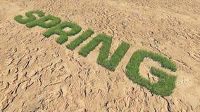 De lentetekst van vers gras onder een onvruchtbaar land 2 wordt gemaakt die vector illustratie