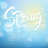 De lenteuitdrukking het vector van letters voorzien Hand getrokken kalligrafie blauwe achtergrond Royalty-vrije Stock Fotografie