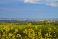De lentevallei en blauwe hemel royalty-vrije stock foto