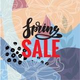 De de lenteverkoop en achtergrond van de speciale aanbieding de vectorbanner met kleurrijk chrysant en madeliefje bloeien element royalty-vrije illustratie