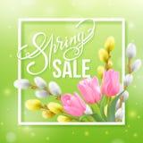 De lenteverkoop het van letters voorzien op een groen onduidelijk beeld vector illustratie