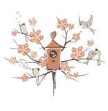 De lentevogels op een boom royalty-vrije illustratie