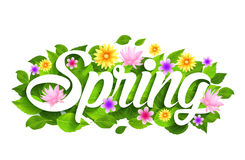De lenteword Document dat met Bloemen, Bladeren & Vlinders wordt gesneden Royalty-vrije Stock Afbeeldingen