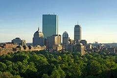 De lentezonsondergang van Boston Stock Afbeeldingen