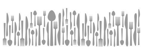 De Lepel Abstract Gray Horizontal van het vorkmes Royalty-vrije Stock Afbeeldingen