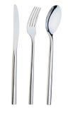 De lepel, de vork en een mes liggen op een plaat Stock Foto's
