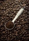 De lepel van de koffie op zaden Stock Afbeelding