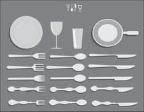 De Lepels en de Werktuigen Vectorpak van keukenvorken Royalty-vrije Stock Foto