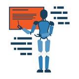 De leraar die van de Humanoidrobot op bord abstract pictogram richten Stock Afbeeldingen