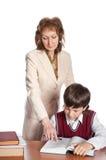 De leraar en de schooljongen Stock Foto's