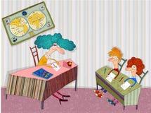 De leraar in het klaslokaal vooruit de studenten Royalty-vrije Stock Afbeelding