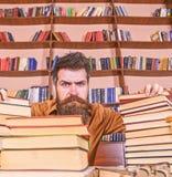 De leraar of de student met baard zitten bij lijst met glazen, defocused Mens op strikt gezicht tussen stapels van boeken, terwij stock foto