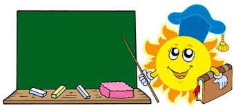 De leraar van de zon met bord Stock Foto's