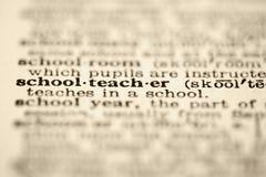De leraarsdefinitie van de school. stock foto's