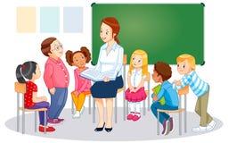 De leraren en de kinderen royalty-vrije illustratie