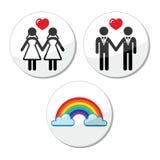 Vrolijk, lesbisch huwelijk, geplaatste regenboogpictogrammen stock illustratie