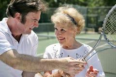 De Lessen van het tennis zijn Pret royalty-vrije stock foto