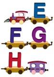 De letters en de getallen van de trein Stock Afbeeldingen