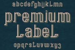 De lettersoort van het premieetiket Retro doopvont Geïsoleerd Engels alfabet Stock Fotografie