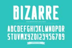 De lettres et de nombres étranges d'alphabet de style vecteur, type bizarre de police Image stock