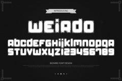 De lettres et de nombres étranges d'alphabet de style vecteur, type bizarre de police illustration libre de droits