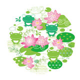 De leuke achtergrond van de lotusbloembloem Stock Foto