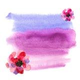 De leuke achtergrond van de waterverfwas met roze waterverfbloemen In Stock Fotografie