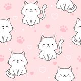 De leuke Achtergrond van het katten Naadloze Patroon vector illustratie