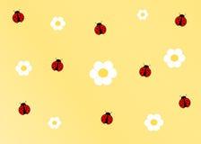 De leuke achtergrond van het lieveheersbeestje gele beeldverhaal Stock Afbeeldingen
