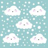 De leuke Achtergrond van het de Wolken Naadloze Patroon van het Beeldverhaalgezicht met Punt, Vectorillustratie stock illustratie